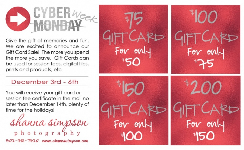Cyber Week Gift Card Sale | Shanna Simpson Photography